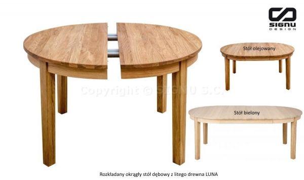 Niesamowite Rozkładany okrągły stół dębowy z litego drewna LUNA - katalog KZ93